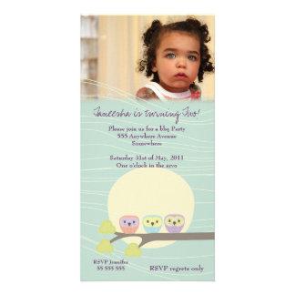 Cute Owls Girls Birthday Party Premium Invite Custom Photo Card