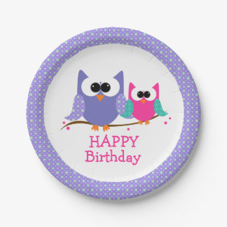Cute Owls, Happy Birthday, Kids Party Paper Plates