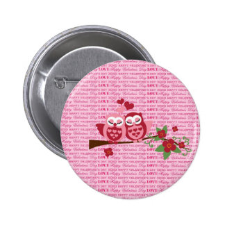 Cute Owls in Love Happy Valentine s Day Gifts Pinback Buttons