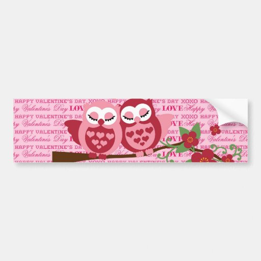 Cute Owls in Love Happy Valentine's Day Gifts Bumper Stickers