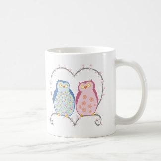 Cute Owls in Love Heart Pink Blue Clipart Coffee Mug