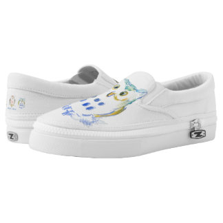Cute Owls in Watercolor Slip-On Shoes
