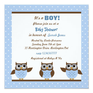 Cute Owls It's a boy Baby Shower Invitations