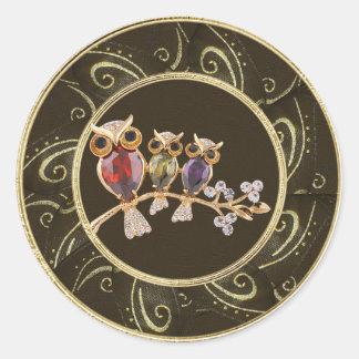Cute Owls Jewels Photo Print Stickers