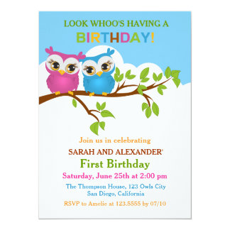 """Cute Owls on Branch Twins Birthday Party Invite 5.5"""" X 7.5"""" Invitation Card"""