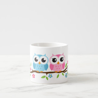 Cute owls on floral branch personalized name espresso mug