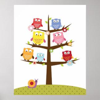 Cute owls on tree illustration poster
