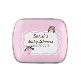 Cute Owls Pink and White Polka dots Jelly Belly Candy Tins