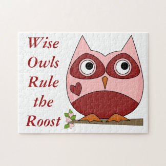 Cute Owls Red and Pink Cartoon Owl Small Heart Jigsaw Puzzle