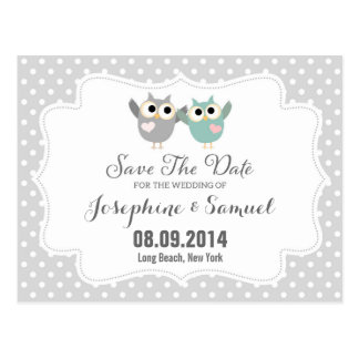 Cute Owls Save The Date Announcement Postcard