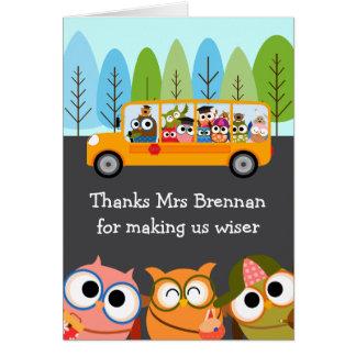 Cute Owls School Bus Teacher Appreciation Greeting Card