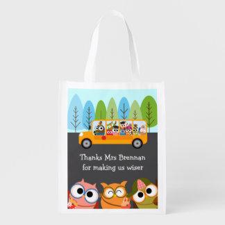 Cute Owls School Bus Teacher Appreciation Market Totes