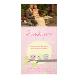 Cute Owls Wedding Thank You Photo Card