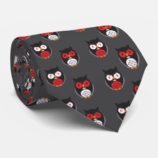 Cute owls with red, white eyes Halloween Tie