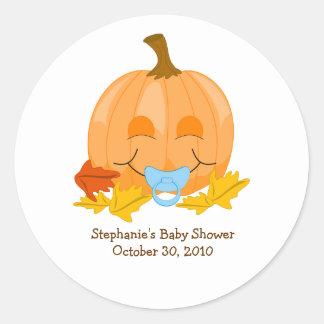 Cute Pacifier Pumpkin Baby Shower Favor Sticker