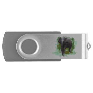 Cute Painted Baby Elephant and Custom Name USB Flash Drive