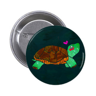 Cute Painted blocks Painted Turtle Button