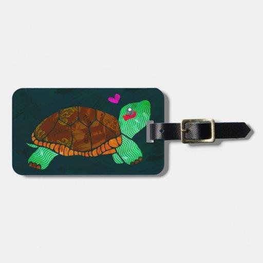 Cute Painted blocks Painted Turtle Bag Tag