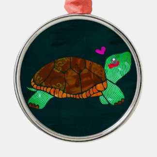 Cute Painted blocks Painted Turtle Silver-Colored Round Decoration