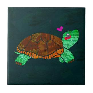Cute Painted blocks Painted Turtle Ceramic Tiles