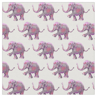 Cute Painted Pink Baby Elephant Pattern on White Fabric