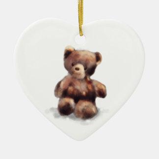 Cute Painted Teddy Bear Ceramic Ornament