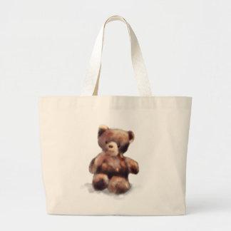 Cute Painted Teddy Bear Large Tote Bag