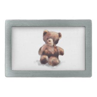 Cute Painted Teddy Bear Rectangular Belt Buckle