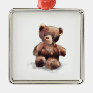 Cute Painted Teddy Bear Silver-Colored Square Decoration