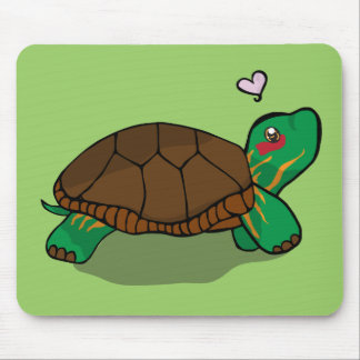 Cute Painted Turtle Red Mouse Pad