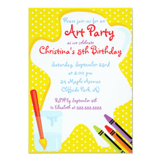 Cute Painting Art Party Birthday Invitations