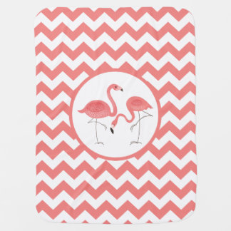 Cute Pair Of Pink Flamingos With Chevron Baby Blanket