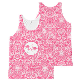 Cute Pair Of Pink Flamingos With Swirls All-Over Print Singlet