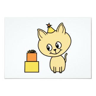 Cute Pale Amber Kitten in a Birthday Hat. 9 Cm X 13 Cm Invitation Card