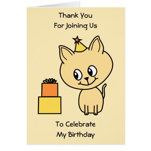 Cute Pale Amber Kitten in a Birthday Hat. Card