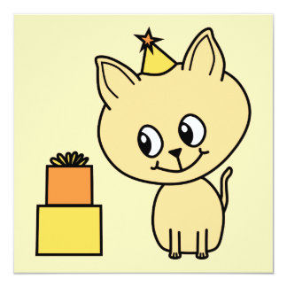 "Cute Pale Amber Kitten in a Birthday Hat. 5.25"" Square Invitation Card"
