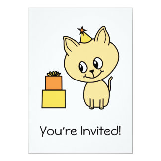 "Cute Pale Amber Kitten in a Birthday Hat. 5"" X 7"" Invitation Card"
