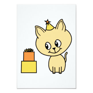 Cute Pale Amber Kitten in a Birthday Hat. 9 Cm X 13 Cm Invitation Card