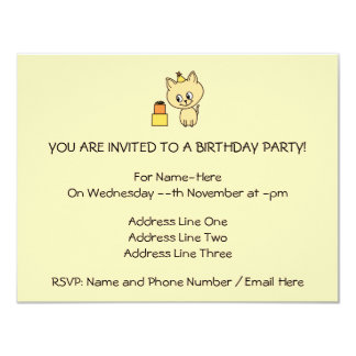"Cute Pale Amber Kitten in a Birthday Hat. 4.25"" X 5.5"" Invitation Card"