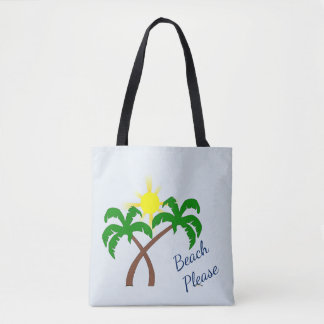Cute Palm Tree Beach Please Tote Bag