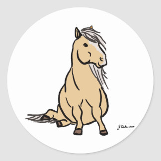Cute Palomino Pony Classic Round Sticker