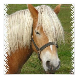 "Cute Palomino Pony Invitations 5.25"" Square Invitation Card"