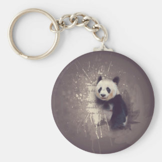Cute Panda Abstract Key Ring