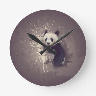 Cute Panda Abstract Round Clock
