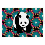 Cute Panda Bear Blue Pink Flowers Floral Pattern Card