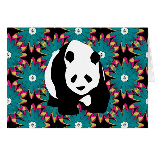 Cute Panda Bear Blue Pink Flowers Floral Pattern Card