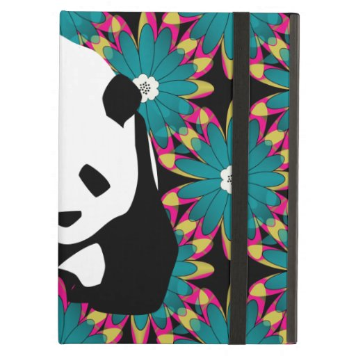 Cute Panda Bear Blue Pink Flowers Floral Pattern iPad Covers