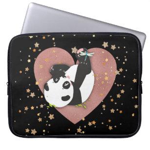 Cute Panda Bear Heart Gold Stars Dragonfly Laptop Sleeve