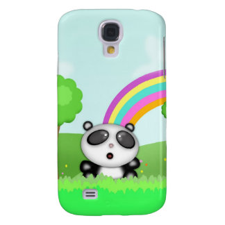 Cute Panda Bear in a colorful scene with rainbow Galaxy S4 Case