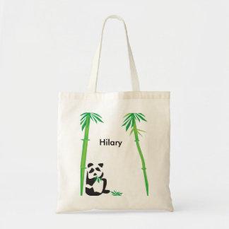 Cute Panda Bear munching on bamboo tote